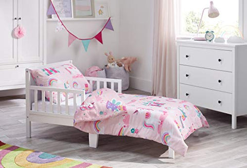 Magic Unicorn, Fairy Princess & Enchanted Castle - Kids Bedding Set - Pink - Junior/Toddler/Cot Bed Duvet Cover and Pillowcase