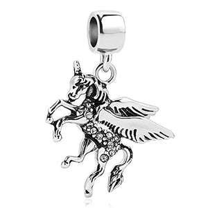 Silver Running Unicorn Charm For Charm Bracelet, Necklace | UNIQUEEN