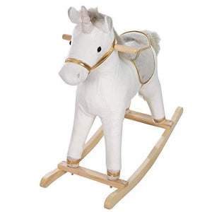 Grey & Gold Unicorn Rocking Horse | 63 x 31 x 73 cm | From 24 Months