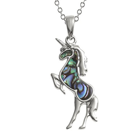 "Kiara Jewellery Unicorn Pendant Necklace Inlaid With Natural greenish blue Paua Abalone Shell on 18"" Trace Chain. Non Tarnish Silver Colour Rhodium plated."