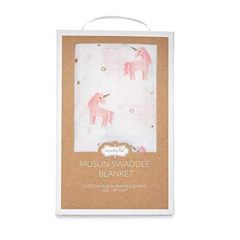 Mud Pie Muslin Unicorn Swaddle - Gift Pack
