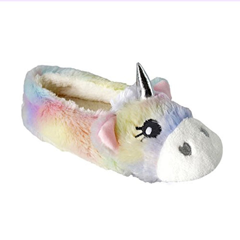 Ladies Novelty Unicorn Plush Lined Ballet Ballerina Slipper
