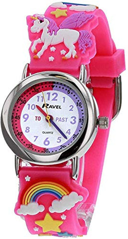 Ravel Children's 3D Pink Unicorn Time Teacher Watch