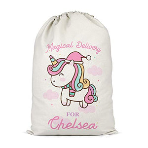 Personalised Girls Christmas Unicorn Present Sack | For Gifts & Toys