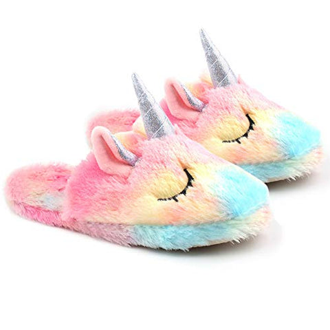 Unicorn Slippers For Women | Rainbow Soft Plush Slip-On's | UK 3 -10