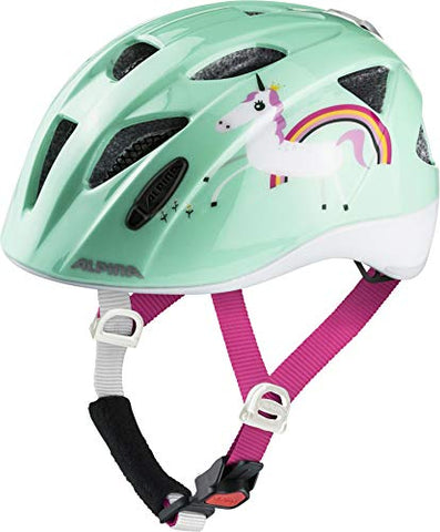 Child's safety bicycle helmet mint green, pink strap