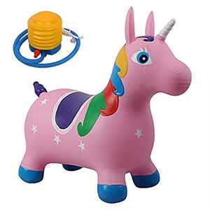 Pink unicorn sit on ride on animal for kids