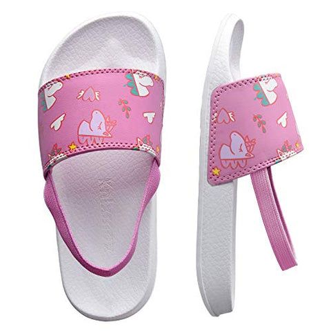 Knixmax Men's Women's Kids' Slide Open Toe Sandals Beach Pool Shoes Bath Shower Sliders Summer Slippers Girls Pink 7 UK Child