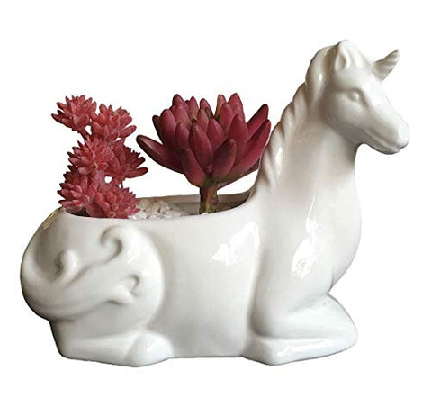 Unicorn plant pot for home office desk ceramic