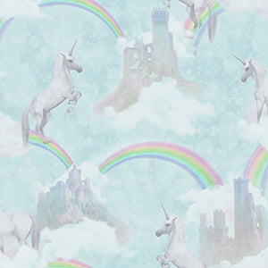 Unicorn wallpaper, castles, rainbows, pastel colours, girls bedroom.