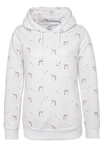 Sublevel Women's All-Over Unicorn Print Hoodie | Hooded Unicorn Sweatshirt, Loungewear White XS