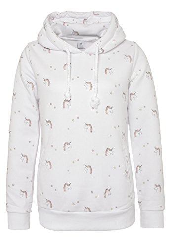 unicorn womens hoody with print - white