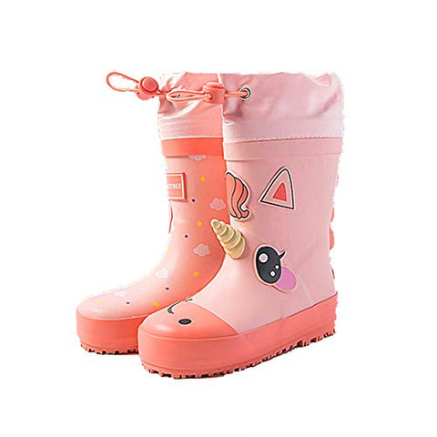 Children's Wellies | Cute 3D Unicorn Waterproof Wellington Boots | Coral