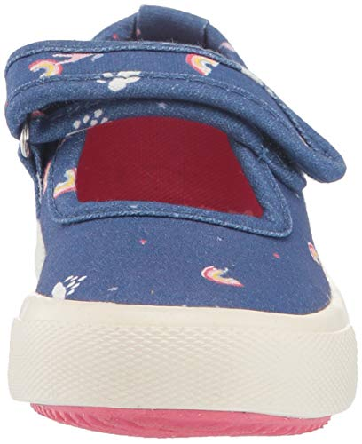 Joules Girls' JNR Fundays Flat Sandal, Blue Unicorn Clouds Rainbows