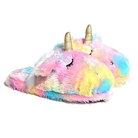 Unicorn Animal Slippers | Indoor Women Slippers | Cozy Plush Home Shoes | Cute Fluffy Girls Slippers (7-8 UK, Pink)