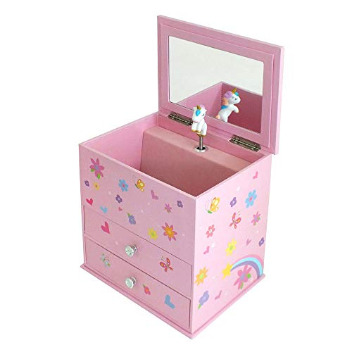 Girls Pink Unicorn Themed Musical 2 Drawer Jewellery Box | Mele & Co