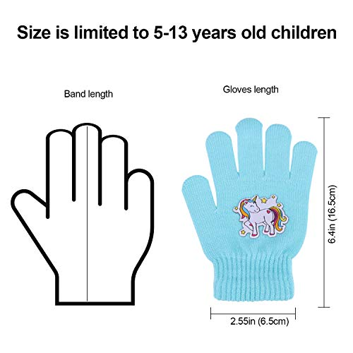 Colourful Kids Unicorn Gloves 6 Pairs