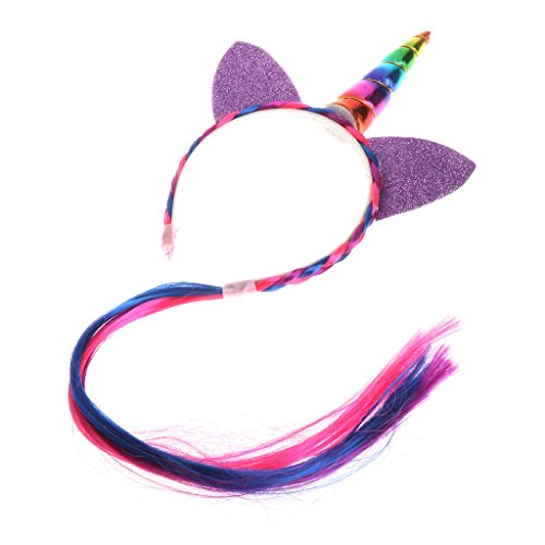 Unicorn Hair Hoop Rainbow Color Headbands | Glitter Ears Kids Wig Hair Accessories
