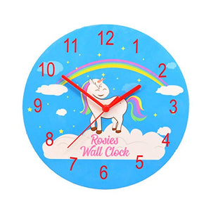 Personalised Unicorn & Rainbow Wall Clock For Girls Bedroom | Blue