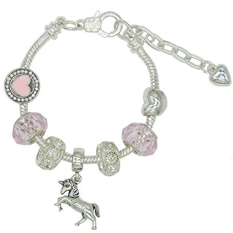 Beautiful Girls Unicorn Bracelet | Sweet Pink Crystal Beads | Sliver Heart Charm | Jewellery Gifts for Girls