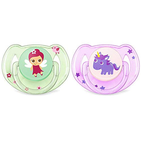 Philips Avent Classic, Fairy and a Unicorn Design, 6-18 Months,  Pack of 2 Dummies