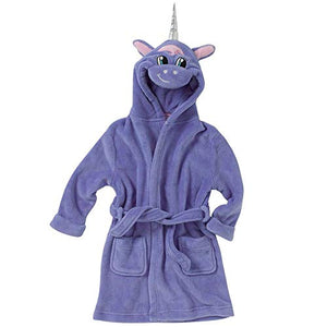 Cute Unicorn Bath Robe Dressing Gown | Fleece | Purple | Kids