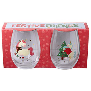 Fun Christmas Unicorn Glass Tumbler | Set Of 2