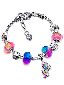 Unicorn Shiny Crystal Colourful Charm Bracelet | Rhinestone Bangle with Unicorn Gift Box Card Set for Girls (14 cm)