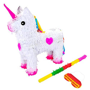 Unicorn Pinata Set With Stick & Blindfold | 43 x 13 x 55cm - Green, Red, Yellow