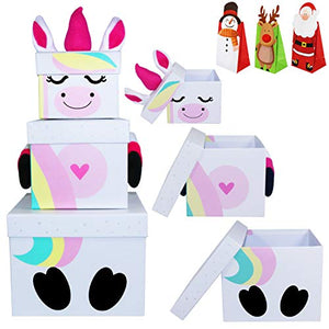 3 Stack-able Gift Unicorn Christmas Eve Boxes | Present Boxes