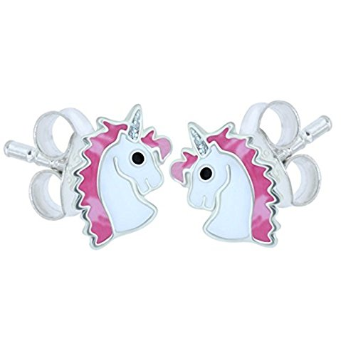 Katy Craig, Sterling Silver Unicorn Earrings, Pink