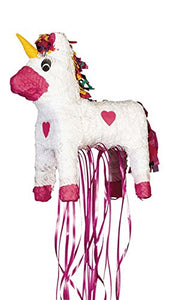 White Unicorn Pull Pinata - 1 Pc - Party Game