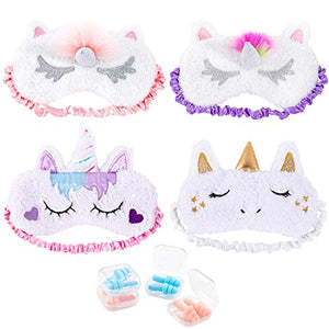 Whaline 4 Pieces Unicorn Sleeping Mask Eye Cover with 4 Ear Plugs, Plush Soft Plush Blindfold Cute Horn Eye Cover Eyeshade for Women Girls Travel Meditation Nap Night Sleeping