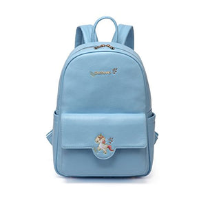 Unicorn baby changing Backpack blue leather