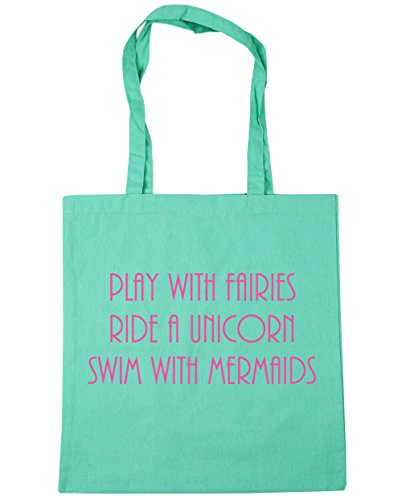 HippoWarehouse Play with Fairies Ride a Unicorn Swim with Mermaids Tote Shopping Gym Beach Bag 42cm x38cm, 10 litres