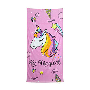 Be Magical Children's Unicorn Beach Towel | 75 x 150 cm | 100% Cotton Velour Fabric