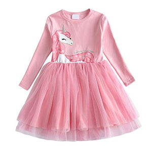 Girls Unicorn Princess Tulle Long Sleeve Party Casual Dresses | Pink