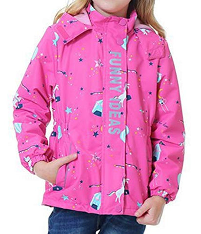 iDrawl Girls Children Pink Unicorn Waterproof Jacket | Rain Jacket | Rain Coat