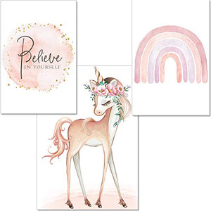 Unicorn Poster Children's Room | Set of 3 Pictures | Wall Art