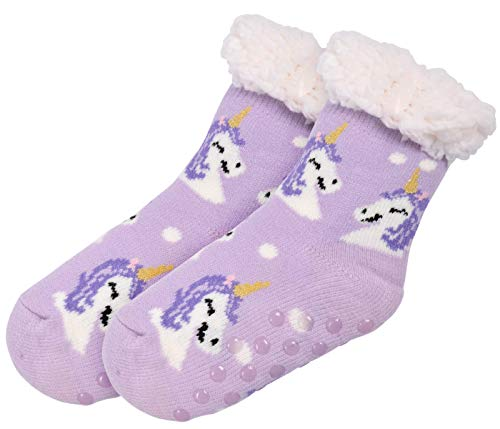 Comfy Cosy Indoor Slipper Socks Purple with Unicorn for Girls Children (8-12)