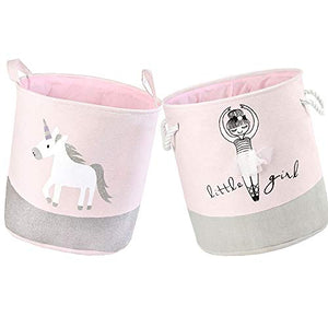 Unicorn Toy Storage Baskets Pink 2 Pack