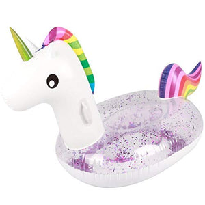 Glitter Rainbow Unicorn Ride On Pool Float