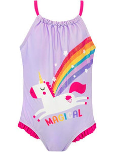 Harry Bear Girls Unicorn Swimsuit Purple Various Ages
