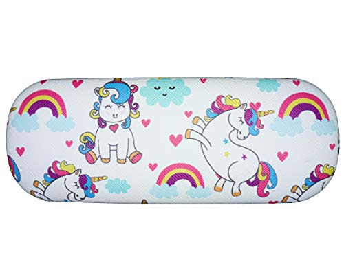 Sleepy unicorn rainbows hearts clouds glasses case