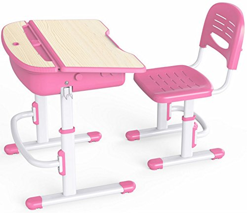 Pink Kids School Desk & Chair