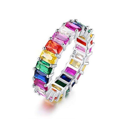 Rainbow Ring - Rhodium Plated, Cubic Zirconia (Emerald Cut)
