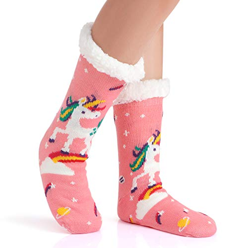 Fleece Lined Fluffy Unicorn Slipper Socks For Women and Girls
