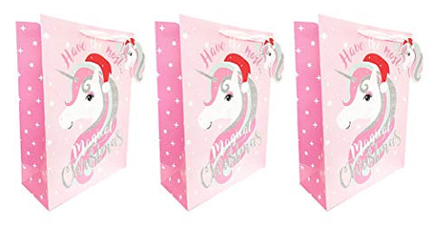 Christmas Gift Bags Extra Large 3 Pack Bulk Pink Glitter Unicorn for Kids Girls Present Wrapping Tags