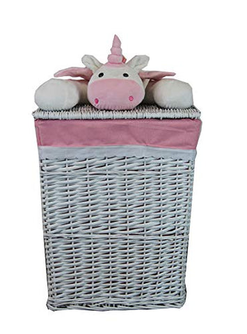 White and Pink Unicorn Wicker Laundry Basket