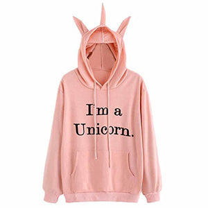 LILICAT Clothing High Quality Womens Unicorn Print Long Sleeve Hoodie Sweatshirt Jumper Hooded Pullover Tops, Autumn Winter New (Pink, Size:M)